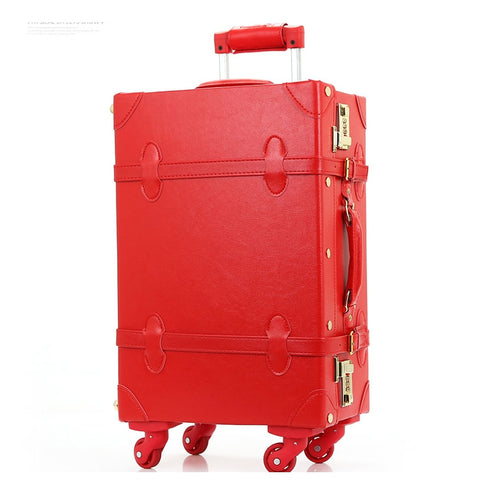 "12"" 20"" 22"" 24""Retro Pu Leather Bride Luggage On Universal Wheels,High Quality Vintage Trolley"