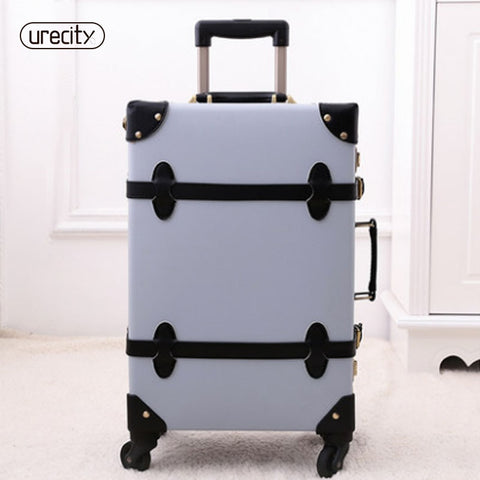2018 New Rolling Travel Luggage Spinner Retro Pu Genuine Leather Luggage Set High Quality 3