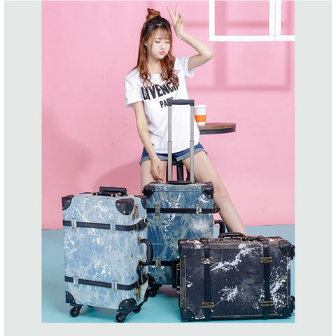 2018 Luggage Retro Suitcase Wheel Suitcase Men'S Luggage Cowboy Boarding Luggage 20 24 Denim