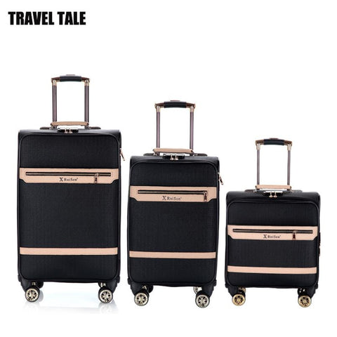"Travel Tale 16""20""24 Inch Spinner Leather Travelling Bags Retro Luggage Sets For Men"