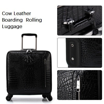 Carrylove Latest Fashion Crocodile Pattern 16/20/22 Size Cow Leather Boarding  Rolling Luggage