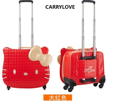 Carrylove Hellokitty Luggage Series 18 Inch Pu Handbag And Rolling Luggage Gifts For Princess