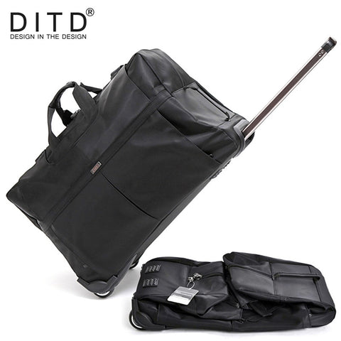 "Ditd 24""28""32"" Large Waterproof Duffle Bag Trolley Bag Fold Nylon Rolling Trolley Luggage Bag"