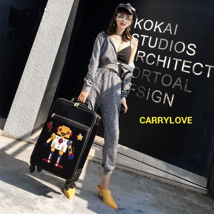 Carrylove High Quality Korean Fashion Luggage 20Size  Oxford Rolling Luggage Spinner Brand Travel