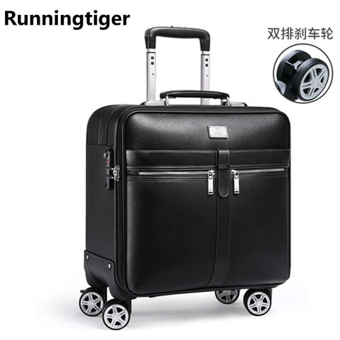 Luxury Retro Men'S And Women'S Travel Luggage Suitcase, Waterproof Pvc Leather Belt Pulley,