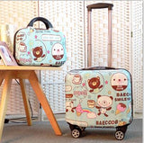 Unisex 2Pcs Carry On Travel Suitcase Women Laptop Luggage Stripe Pattern Small Luggage 18 Inch