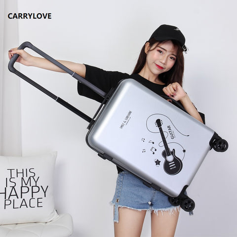 Carrylove High Quality Luggage 20/24 Size Cartoon Rock Pc Rolling Luggage Spinner Brand Travel