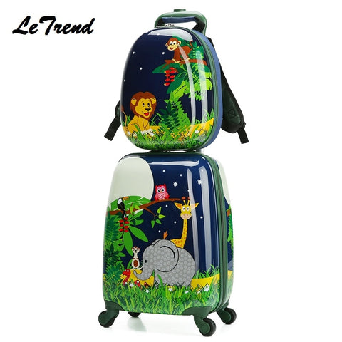 Letrend New Backpack Cartoon Cute Animal Kids Rolling Luggage Set Spinner Children Suitcases