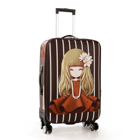"Trolley Wheeled Suitcase Business Large Travel Bag 20""24""Luggage Bag Women'S Love Girl Canvas"