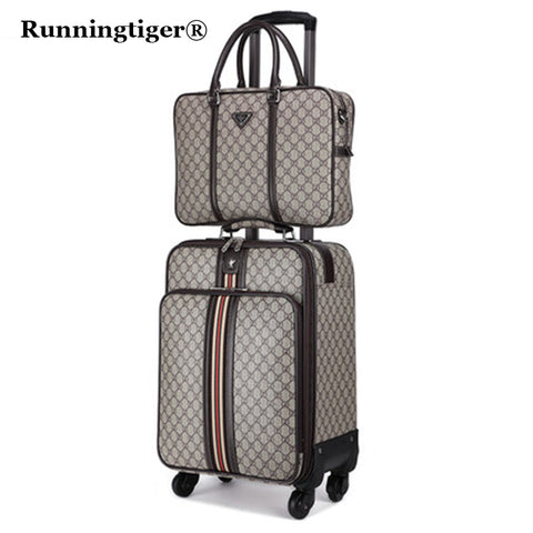 "2Pcs 16""20""22"" Luggage Suitcase Bag,Waterproof Pu Leather Travel Box With Wheel ,Rolling Trolley"