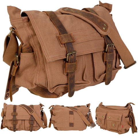 Costway Men'S Vintage Canvas Leather School Military Shoulder Messenger Bag (Tan)