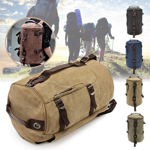 New Mens Vintage Novelty Brown Canvas Duffel Backpack Camping Gym Shoulder Bag Luggage Hand Bag