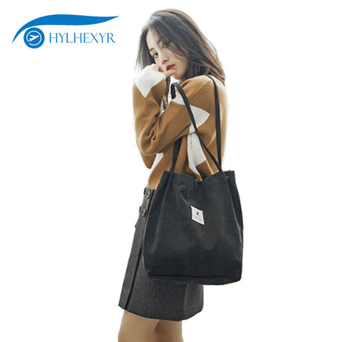 Hylhexyr Woman Corduroy Shoulder Bag Reusable Shopping Bags Casual Tote Female Handbag For A
