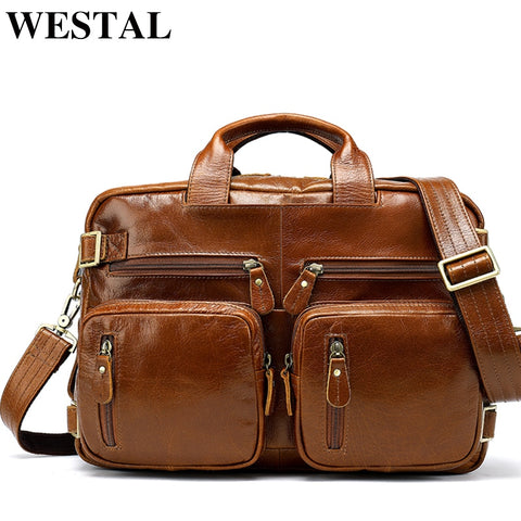 Westal Multifunction Leather Laptop Bags Genuine Leather Men Bag Shoulder Messenger Bag Men