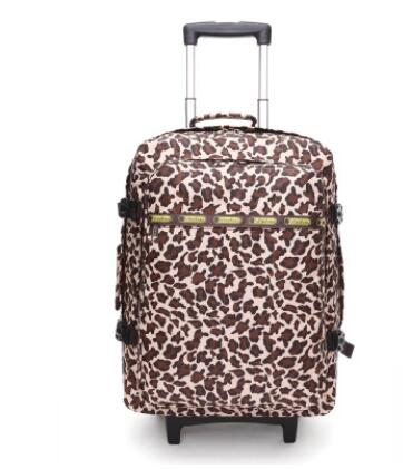 "20"" Leopard Travel Bag On Wheels Rolling Backpack Trolley Travel Cabin Luggage Suitcase Bag On"