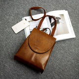 Vintage Backpack Female Small Genuine Leather Bagpack Stylish School Bagpack College Flap Cover