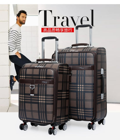 Carrylove 2018 Business Luggage 20/24 Size Fashion Grid Pu Rolling Luggage Spinner Brand Travel