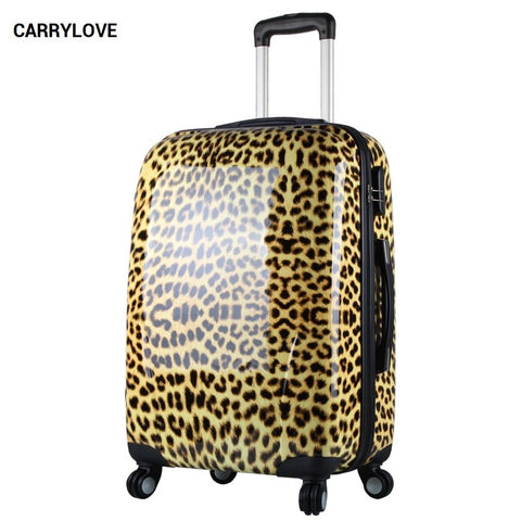 Carrylove Fashion Luggage Series 20/24 Inch Size Leopard Grain Pcrolling Luggage Spinner Brand