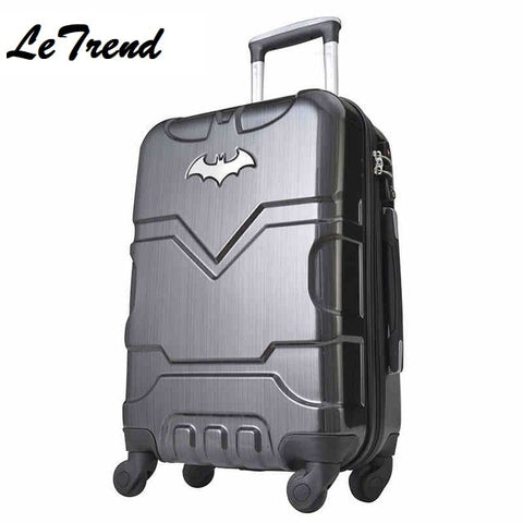 "Letrend 20""24"" 28"" Inch Batman Abs +Pc Luggage Boarding Password Hardside Luggage Rolling Trolley"