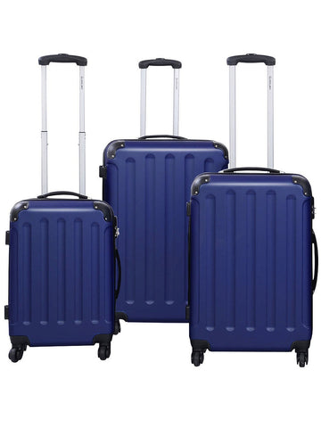 Globalway 3 Pcs Luggage Travel Set Bag Abs Trolley Suitcase Dark Blue