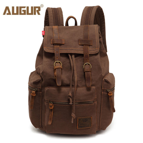 Augur New Fashion Men'S Backpack Vintage Canvas Backpack School Bag Men'S Travel Bags Large