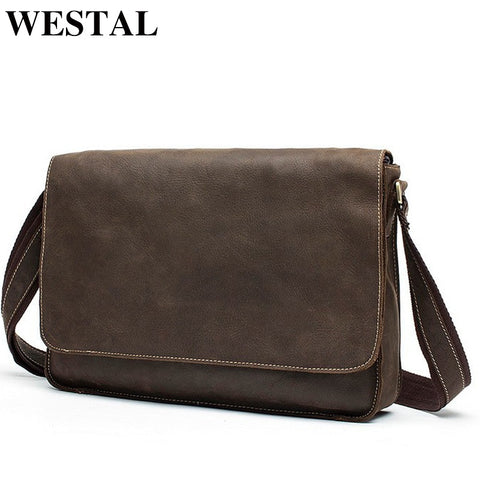 Westal Crazy Horse Leather Laptop Bags Messenger Bag Men'S Shoulder Bags Genuine Leather Men