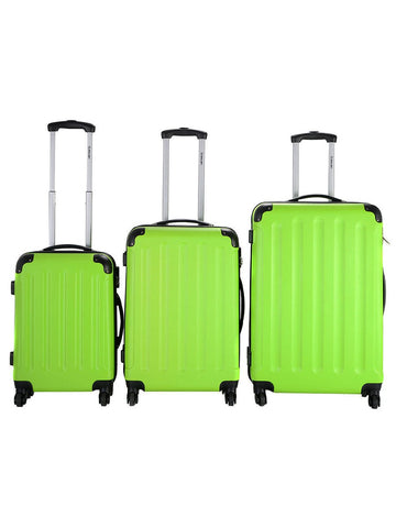 Globalway 3 Pcs Luggage Travel Set Bag Abs Trolley Suitcase Green
