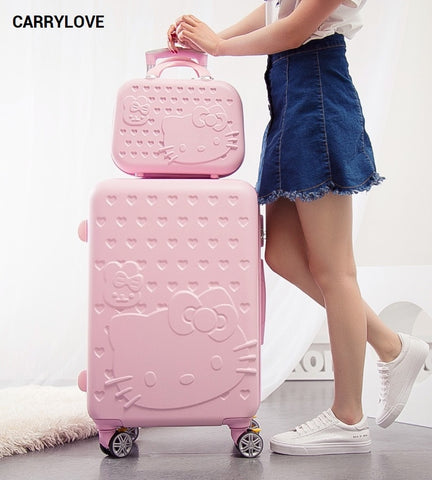 Carrylove Hellokitty Luggage Series 20/24Inch Pc Handbag And  Rolling Luggage Spinner Brand