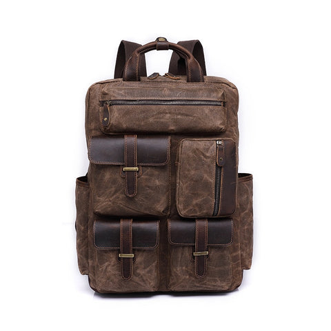 2018 Fashion Genuine Leather Backpack Vintage Crazy Horse Travel Backpack Women Men Bolsa Mochila