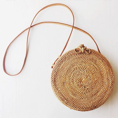 Caker Summer Woven Straw Bag Rattan Brown Black White Bohemia Beach Bag Handmade Circle Messenger