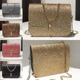New Fashion Women Sequined Crossbody Bag Pu Leather Chain Mini Messenger Shoulder Bag Glitter
