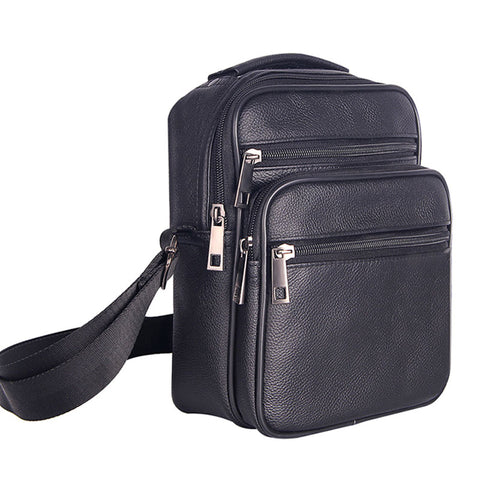 Mens Leather Small Messenger Bag Satchels Multifunctional Crossbody Shoulder Bag For Travel