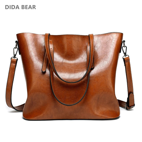 Dida Bear Brand Women Leather Handbags Lady Large Tote Bag Female Pu Shoulder Bags Bolsas Femininas