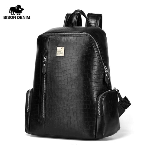 "Bison Denim Genuine Leather 14"" Laptop Backpacks School Backpack Male Travel Backpack Cowhide"