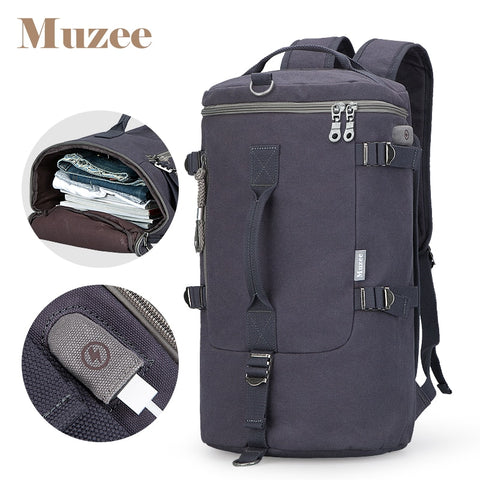 Muzee High Capacity Travel Bag Cylinder Packbage Multifunction Rusksack Male Fashion Backpack