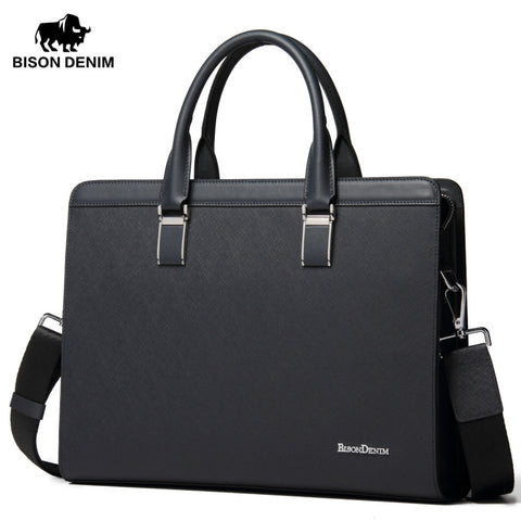 Bison Denim Genuine Leather Handbag Men Business Messenger Bag 14'' Laptop Tablet Leather