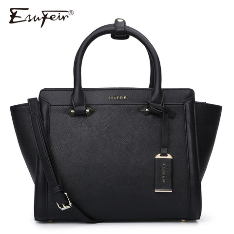 Esufeir Brand Genuine Leather Women Handbag Cross Pattern Cow Leather Shoulder Bag Fashion Design