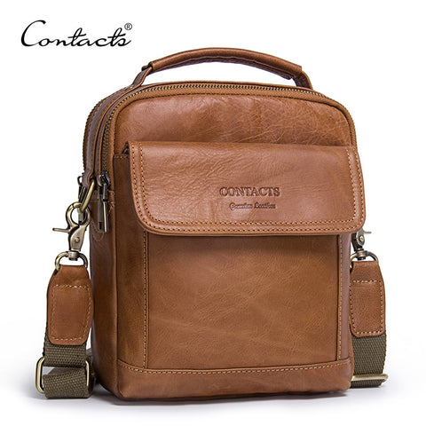 Contact'S Genuine Leather Shoulder Bags Fashion Men Messenger Bag Small Ipad Male Tote Vintage