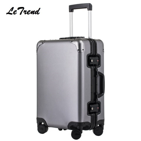 100% High Quality Aluminum Alloy Rolling Luggage Spinner Suitcases Wheel 20 Inch Men Business Carry