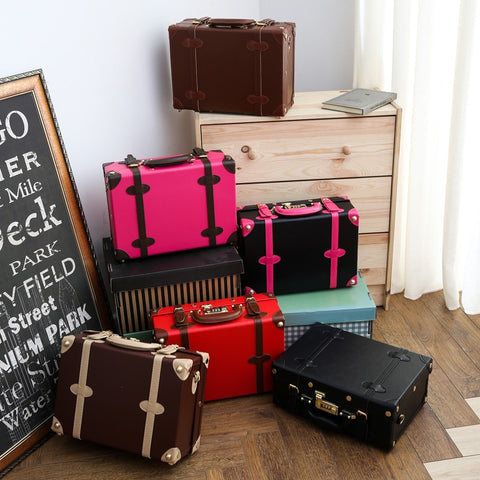 Vintage Suitcase Package Suitcase Small Luggage Travel Bag Female 14 Mini The Box,Lovely Korea