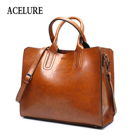 Acelure Leather Handbags Big Women Bag High Quality Casual Female Bags Trunk Tote Spanish Brand