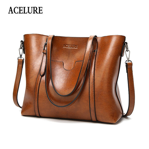 Acelure Women Bag Oil Wax Women'S Leather Handbags Luxury Lady Hand Bags With Purse Pocket Women