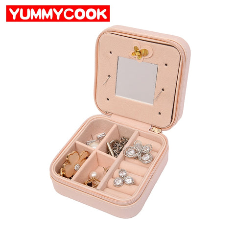 Women'S Trave Jewelry Box Rings Earrings Necklace Organizer Chest Makeup Case With Cosmetic