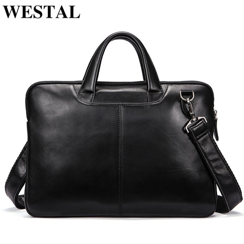 Westal Men'S Bag Genuine Leather 14 Inch Laptop Briefcases Crossbody Bags For Men Totes Leather