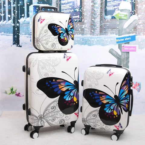 Beasumore Women Butterfly Abs Rolling Luggage Set Trolley Suitcase Wheels High Quality 12 20 24