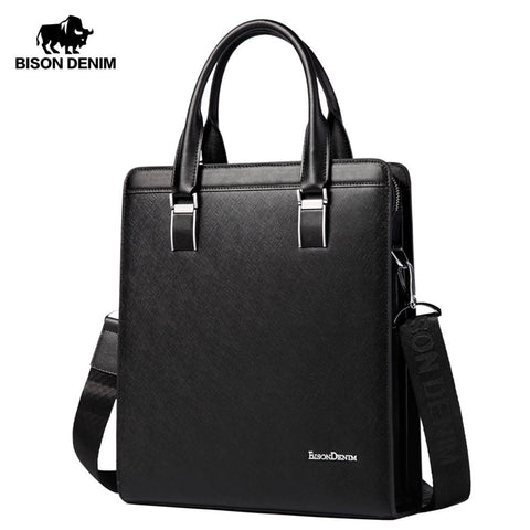 Bison Denim Genuine Leather Handbag Men Business Messenger Bag Leather Shoulder Bag Crossbody