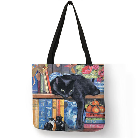 Oil Painting Cat Print Women Tote Bags Linen Reusable Shopping Bag Shoulder Bags For Women 2018