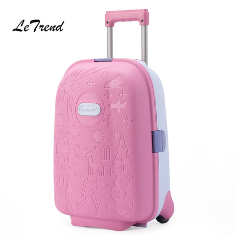 Letrend Kids Cute Cartoon Rolling Luggage Spinner Children Wheel Suitcases Trolley Travel Bag