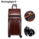 "16""20""24""Luxury Luggage Suitcase Bag Waterproof Pu Leather Travel Box With Wheel Rolling Trolley"