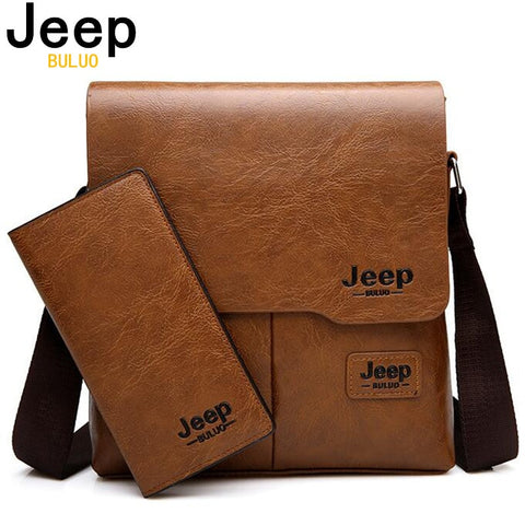 Jeep Buluo Man Messenger Bag 2 Set Men Pu Leather Shoulder Bags Business Crossbody Casual Bag